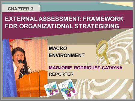 CHAPTER 3 EXTERNAL ASSESSMENT: FRAMEWORK FOR ORGANIZATIONAL STRATEGIZING MARJORIE RODRIGUEZ-CATAYNA REPORTER MACRO ENVIRONMENT.