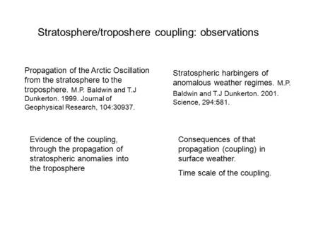 Stratospheric harbingers of anomalous weather regimes. M.P. Baldwin and T.J Dunkerton. 2001. Science, 294:581. Propagation of the Arctic Oscillation from.