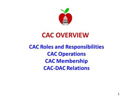 CAC OVERVIEW CAC Roles and Responsibilities CAC Operations CAC Membership CAC-DAC Relations 1.