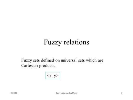 931102fuzzy set theory chap07.ppt1 Fuzzy relations Fuzzy sets defined on universal sets which are Cartesian products.