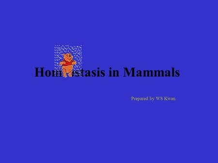 Homeostasis in Mammals Prepared by WS Kwan Definition: Keeping the internal environment in a Steady state.