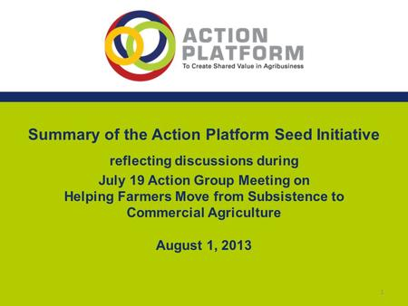 Summary of the Action Platform Seed Initiative reflecting discussions during July 19 Action Group Meeting on Helping Farmers Move from Subsistence to Commercial.