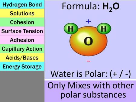Formula: H 2 O Water is Polar: (+ / -) Only Mixes with other polar substances Solutions Capillary Action Surface Tension Energy Storage Acids/Bases Cohesion.