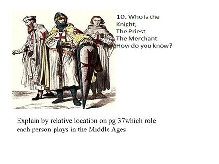 Explain by relative location on pg 37which role each person plays in the Middle Ages.