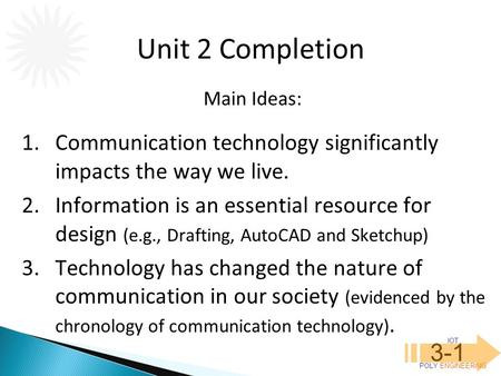 IOT POLY ENGINEERING 3-1 1.Communication technology significantly impacts the way we live. 2.Information is an essential resource for design (e.g., Drafting,