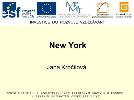 New York Jana Kročilová. Situation Country: the USA State: New York Nicknames: The Big Apple The City That Never Sleeps The Capital of the World Population: