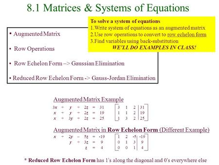 8.1 Matrices & Systems of Equations