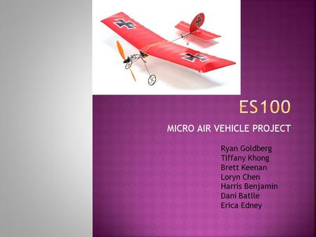MICRO AIR VEHICLE PROJECT Ryan Goldberg Tiffany Khong Brett Keenan Loryn Chen Harris Benjamin Dani Batlle Erica Edney.