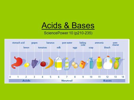 Acids & Bases SciencePower 10 (p210-235). Acids, Bases, and Salts Scientists often refer to substances as being either acids, bases, or salts. During.