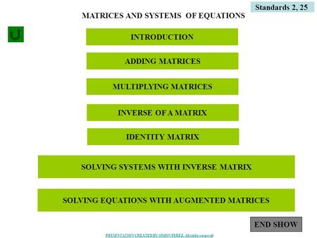1 Standards 2, 25 MATRICES AND SYSTEMS OF EQUATIONS INTRODUCTION ADDING MATRICES MULTIPLYING MATRICES INVERSE OF A MATRIX IDENTITY MATRIX SOLVING SYSTEMS.
