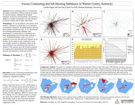 Excess Commuting and Job-Housing Imbalance in Warren County, Kentucky Abstract: Excess commuting (EC) is a concept first developed by Hamilton (1982) to.