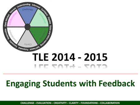 Engaging Students with Feedback CHALLENGE – EVALUATION – CREATIVITY – CLARITY – FOUNDATIONS – COLLABORATION.