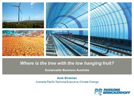 Where is the tree with the low hanging fruit? Sustainable Business Australia Arek Sinanian Australia-Pacific Technical Executive, Climate Change.