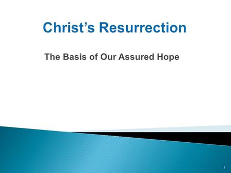 The Basis of Our Assured Hope 1. 1. Jesus' resurrection was predicted in advance. 2. There's overwhelming evidence that Jesus' was raised from the dead.