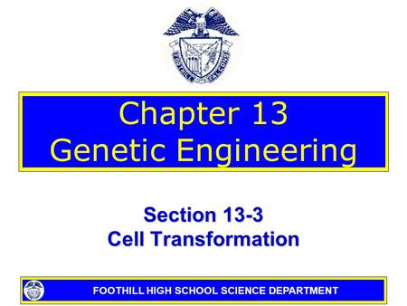 FOOTHILL HIGH SCHOOL SCIENCE DEPARTMENT Chapter 13 Genetic Engineering Section 13-3 Cell Transformation.