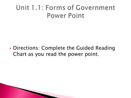 Directions: Complete the Guided Reading Chart as you read the power point.