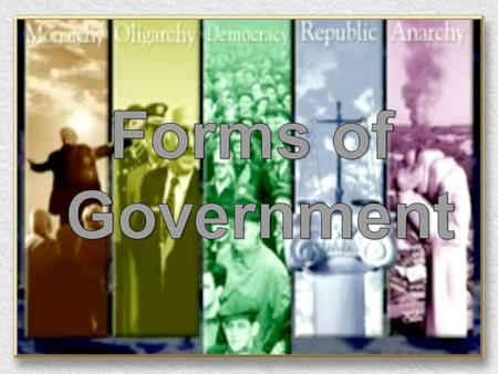 FORMS OF GOVERNMENT Absolute Monarchy Definition: Leader (King or Queen) has ALL power Guiding Belief: King chosen by God! (Divine Right) –Leader makes.