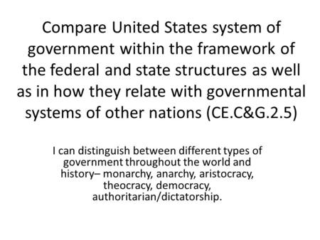 Compare United States system of government within the framework of the federal and state structures as well as in how they relate with governmental systems.