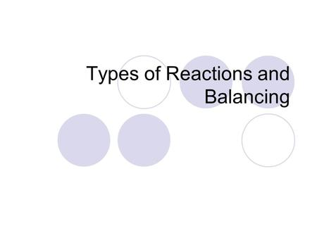 Types of Reactions and Balancing. Curriculum Big Idea: Chemical reactions are predictable Concept: Common chemical reactions can be categorized as synthesis,
