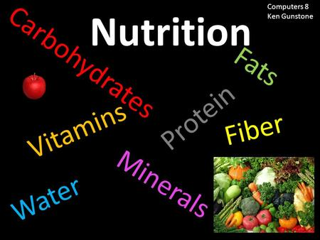 Nutrition Carbohydrates Fats Water Minerals Protein Fiber Vitamins Computers 8 Ken Gunstone.
