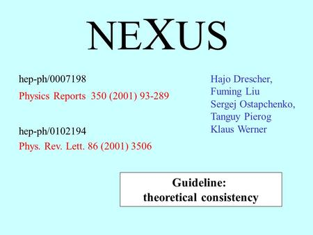 NE X US hep-ph/0007198 Physics Reports 350 (2001) 93-289 Guideline: theoretical consistency hep-ph/0102194 Phys. Rev. Lett. 86 (2001) 3506 Hajo Drescher,