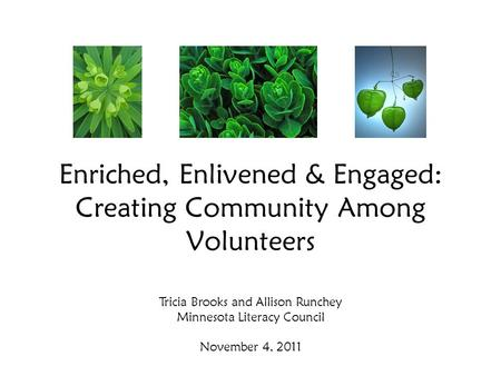 Enriched, Enlivened & Engaged: Creating Community Among Volunteers Tricia Brooks and Allison Runchey Minnesota Literacy Council November 4, 2011.