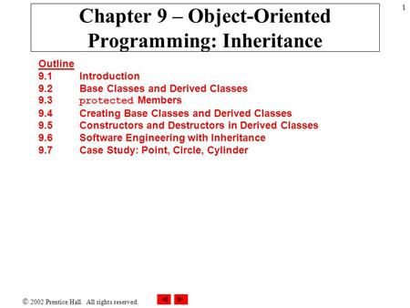  2002 Prentice Hall. All rights reserved. 1 Chapter 9 – Object-Oriented Programming: Inheritance Outline 9.1Introduction 9.2Base Classes and Derived Classes.