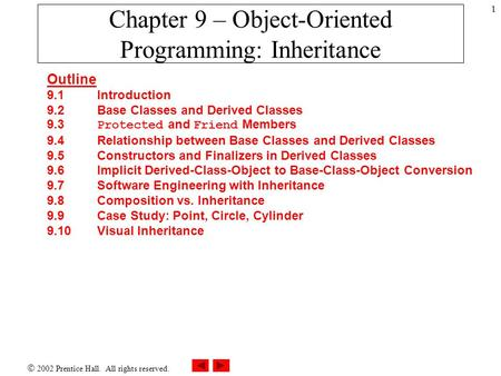  2002 Prentice Hall. All rights reserved. 1 Chapter 9 – Object-Oriented Programming: Inheritance Outline 9.1Introduction 9.2 Base Classes and Derived.