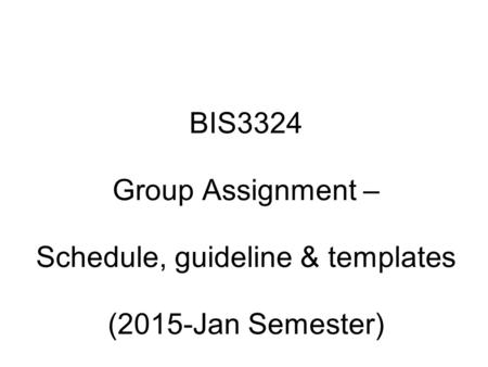 BIS3324 Group Assignment – Schedule, guideline & templates (2015-Jan Semester)