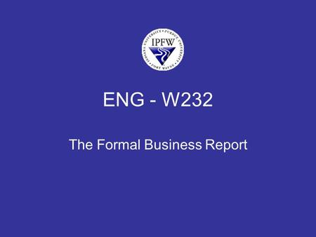 ENG - W232 The Formal Business Report. Audience supervisors at Air America.