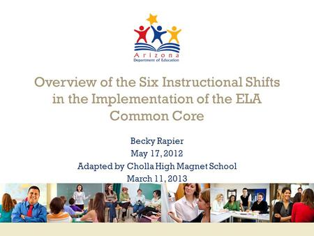 Www.engageNY.org Overview of the Six Instructional Shifts in the Implementation of the ELA Common Core Becky Rapier May 17, 2012 Adapted by Cholla High.