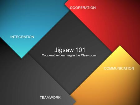 Jigsaw 101 Cooperative Learning in the Classroom INTEGRATION TEAMWORK COMMUNICATION COOPERATION.