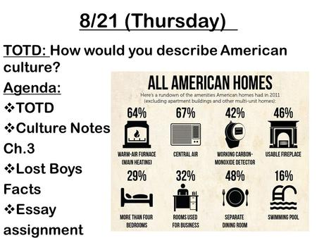 8/21 (Thursday) TOTD: How would you describe American culture? Agenda:  TOTD  Culture Notes Ch.3  Lost Boys Facts  Essay assignment Sociology, 12 th.