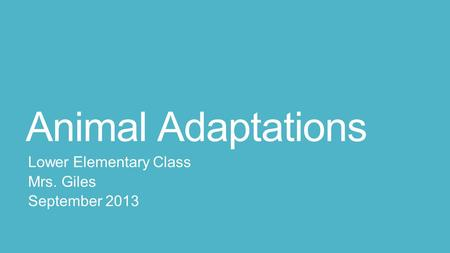 Animal Adaptations Lower Elementary Class Mrs. Giles September 2013.
