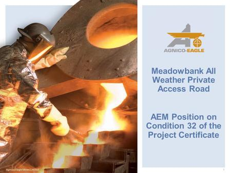 Agnico-Eagle Mines Limited1 Meadowbank All Weather Private Access Road AEM Position on Condition 32 of the Project Certificate.