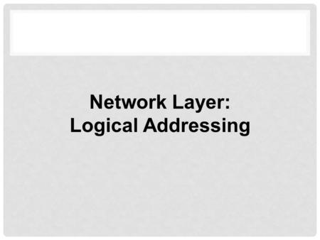 Network Layer: Logical Addressing. Address Space Notations Classful Addressing Classless Addressing Network Address Translation (NAT) Topics Discussed.
