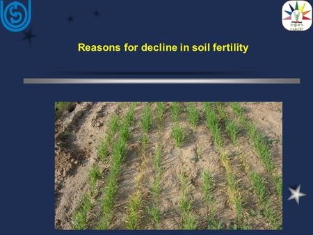 Reasons for decline in soil fertility.  As crop yields have increased over the years due to the technological changes, many soils are unable to supply.