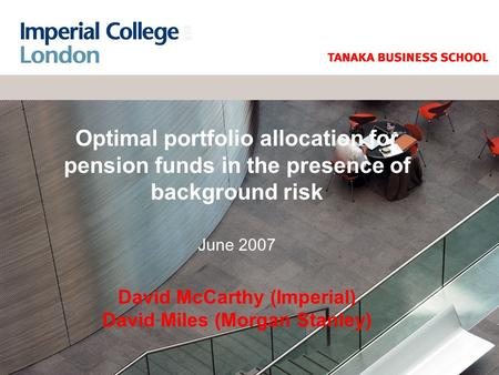 Optimal portfolio allocation for pension funds in the presence of background risk June 2007 David McCarthy (Imperial) David Miles (Morgan Stanley)