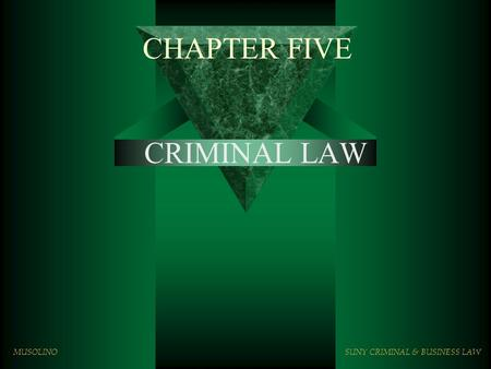 CHAPTER FIVE CRIMINAL LAW MUSOLINOSUNY CRIMINAL & BUSINESS LAW.