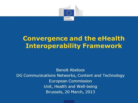 Convergence and the eHealth Interoperability Framework