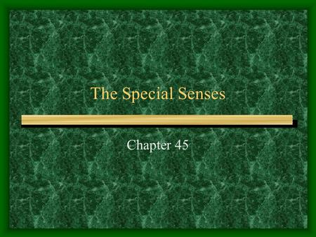 The Special Senses Chapter 45. The Senses Senses do not only apply to telling us about the external environment (hearing, sight, taste, and smell) They.