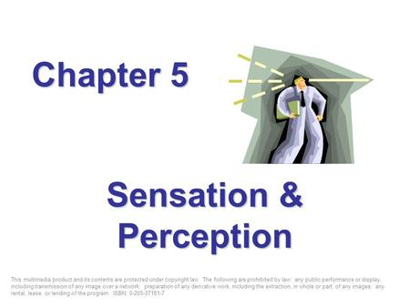 Sensation & Perception Chapter 5 This multimedia product and its contents are protected under copyright law. The following are prohibited by law: any public.