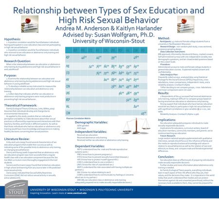 . Relationship between Types of Sex Education and High Risk Sexual Behavior Andrea M. Anderson & Kaitlyn Harlander Advised by: Susan Wolfgram, Ph.D. University.