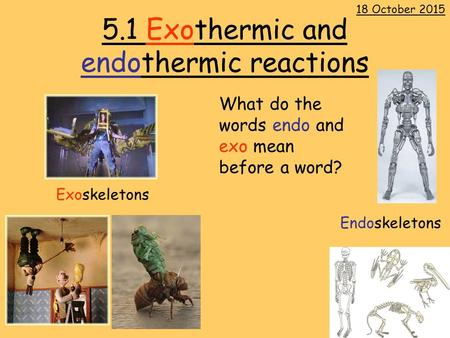 5.1 Exothermic and endothermic reactions 18 October 2015 Exoskeletons Endoskeletons What do the words endo and exo mean before a word?