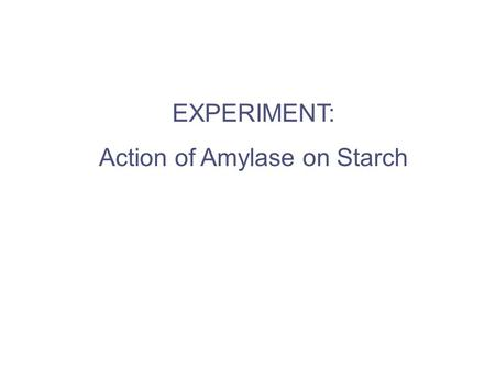 EXPERIMENT: Action of Amylase on Starch. A B C D E F G Add 10 ml of distilled water to each tube.