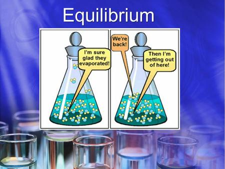 Equilibrium. Equilibrium Activity Does equilibrium mean that the amounts of reactants and products are equal? Materials: Obtain two straws, a 50 mL graduated.