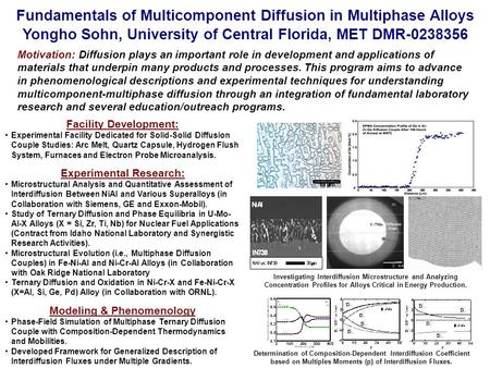 Fundamentals of Multicomponent Diffusion in Multiphase Alloys Yongho Sohn, University of Central Florida, MET DMR-0238356 Motivation: Diffusion plays an.