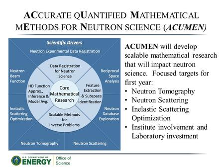 AC CURATE Q U ANTIFIED M ATHEMATICAL M E THODS FOR N EUTRON SCIENCE (ACUMEN) ACUMEN will develop scalable mathematical research that will impact neutron.