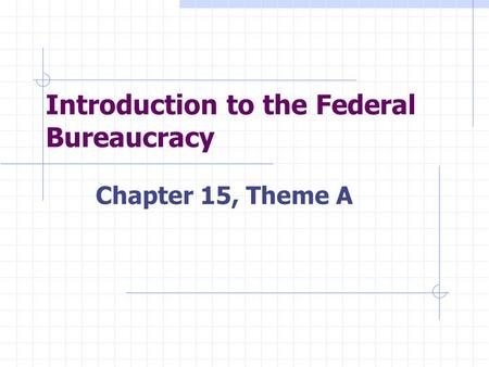 Introduction to the Federal Bureaucracy Chapter 15, Theme A.