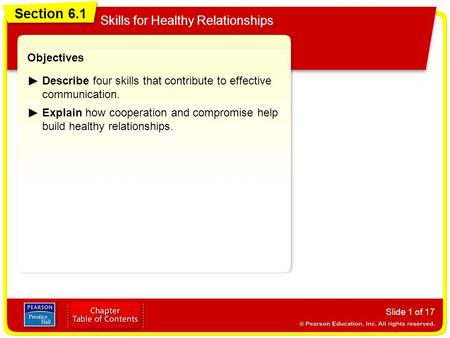 Section 6.1 Skills for Healthy Relationships Objectives
